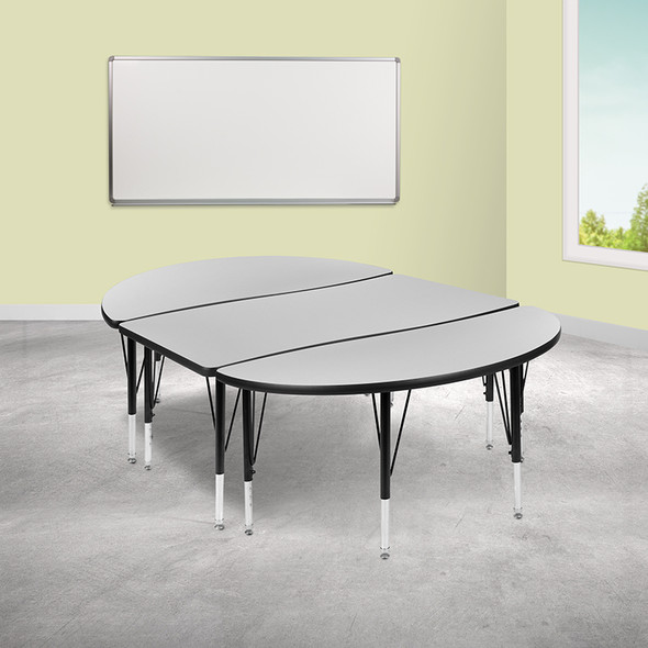 """3pc 76"""" Oval Grey Table Set - FLXU-GRP-A3048CON-48-GY-T-P-GG"""