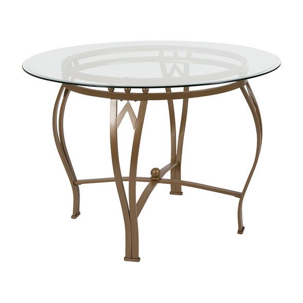 42rd Glass Table/gold Frame