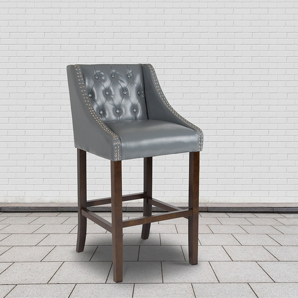 """30"""" Gray Leather/wood Stool - FLCH-182020-T-30-LTGY-GG"""
