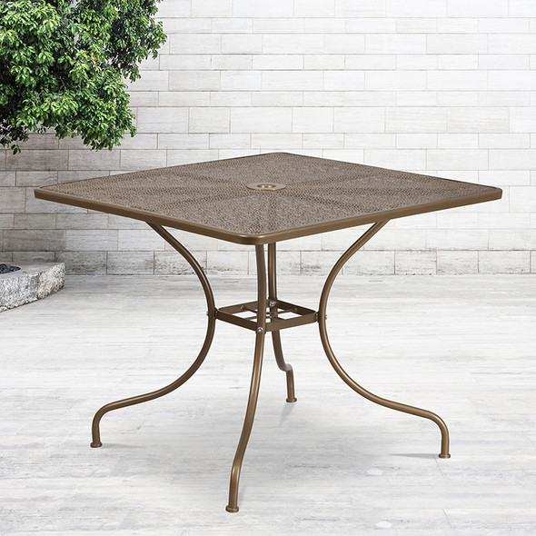 35.5sq Gold Patio Table