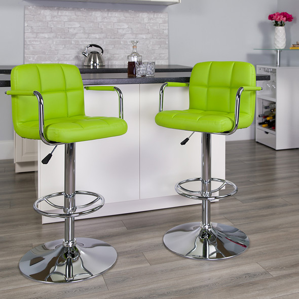 Green Quilted Vinyl Barstool - FLCH-102029-GRN-GG