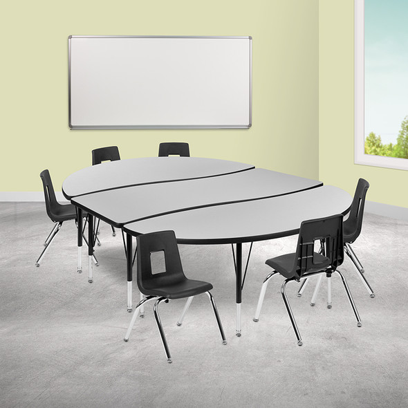 """86"""" Oval Wave Grey Table Set - FLXU-GRP-14CH-A3060CON-60-GY-T-P-GG"""