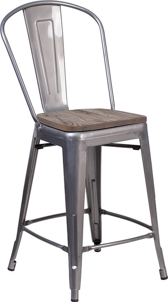 """24"""" Clear Metal Counter Stool"""