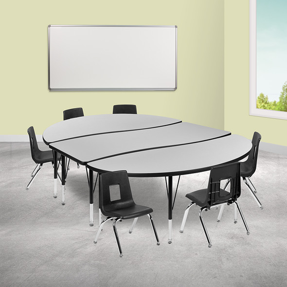 """86"""" Oval Wave Grey Table Set - FLXU-GRP-12CH-A3060CON-60-GY-T-P-GG"""