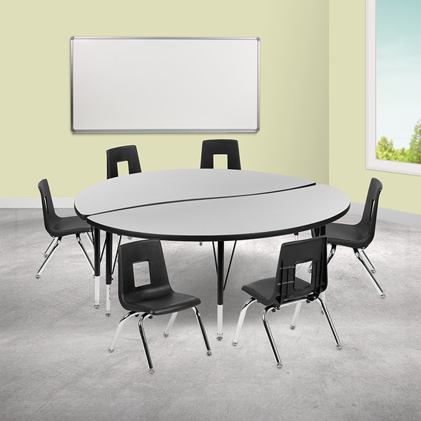 """60"""" Circle Wave Grey Table Set - FLXU-GRP-14CH-A60-HCIRC-GY-T-P-GG"""