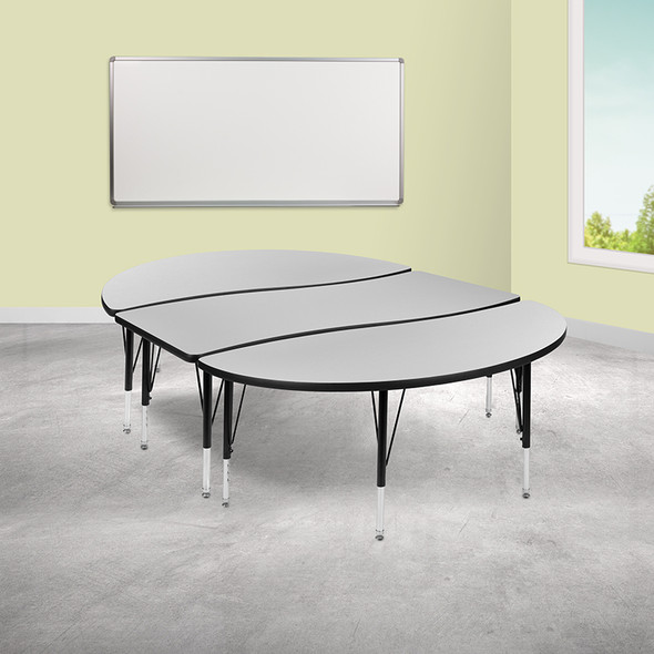 """3pc 86"""" Oval Grey Table Set - FLXU-GRP-A3060CON-60-GY-T-P-GG"""