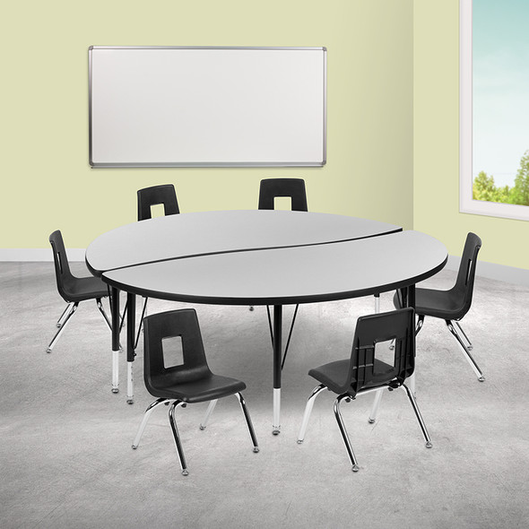 """60"""" Circle Wave Grey Table Set - FLXU-GRP-12CH-A60-HCIRC-GY-T-P-GG"""