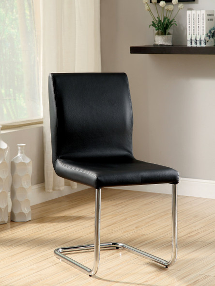 Xavia Contemporary Faux Leather Side Chairs in Black (Set of 2)