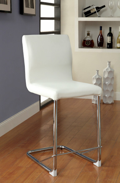 Xavia Contemporary Padded Counter Height Chairs in Distressed White (Set of 2)