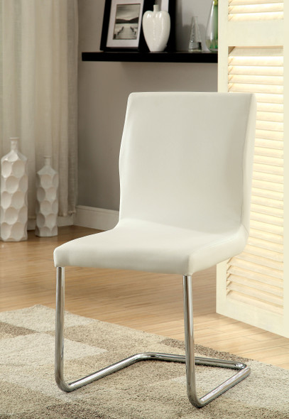 Xavia Contemporary Faux Leather Side Chairs in White (Set of 2)