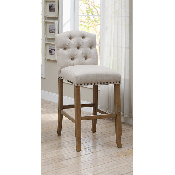 Lyon Cottage Button Tufted Dining Chairs in Beige (Set of 2)