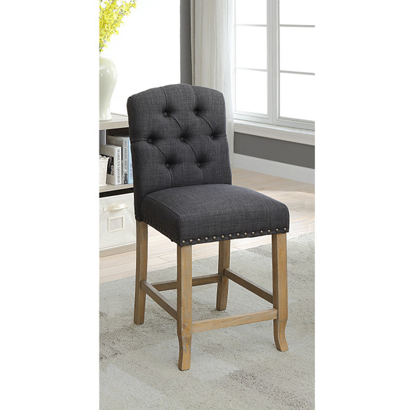 Lyon Cottage Button Tufted Counter Height Chairs in Dark Gray (Set of 2)