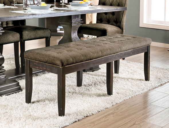 Lilla Rustic Button Tufted Bench in Antique Black and Gray