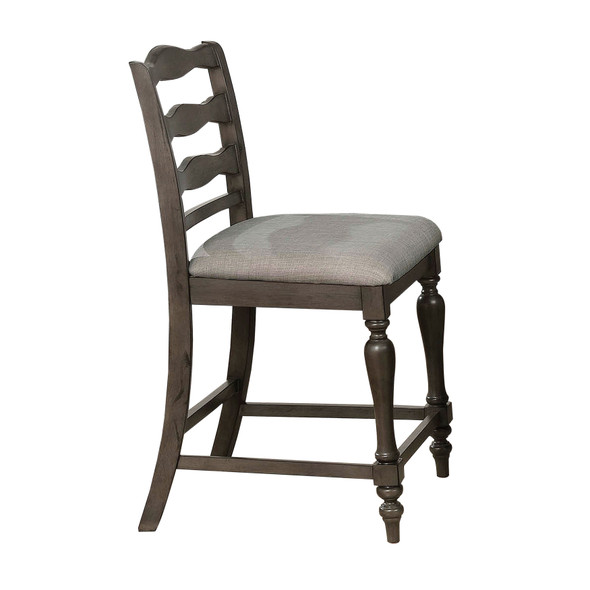 Earnest Rustic Padded Counter Height Chairs in Gray (Set of 2)