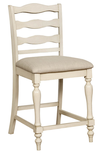Earnest Rustic Padded Counter Height Chairs in White (Set of 2)