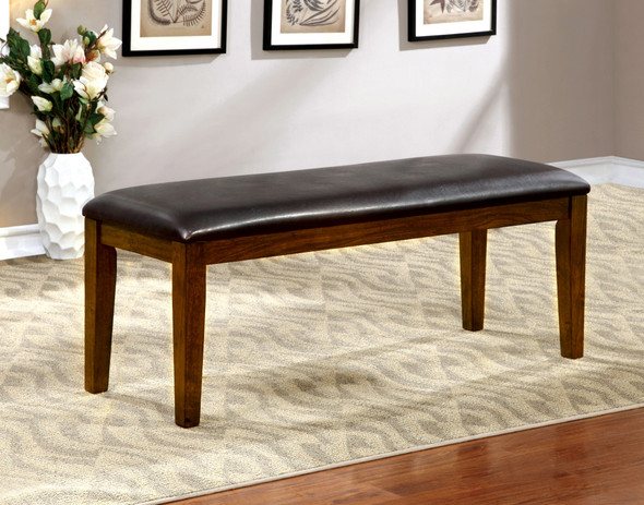 Othello Transitional Faux Leather Padded Bench