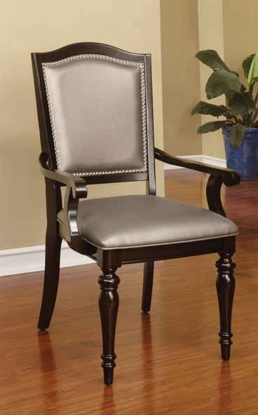 Harry Transitional Faux Leather Padded Arm Chairs (Set of 2)