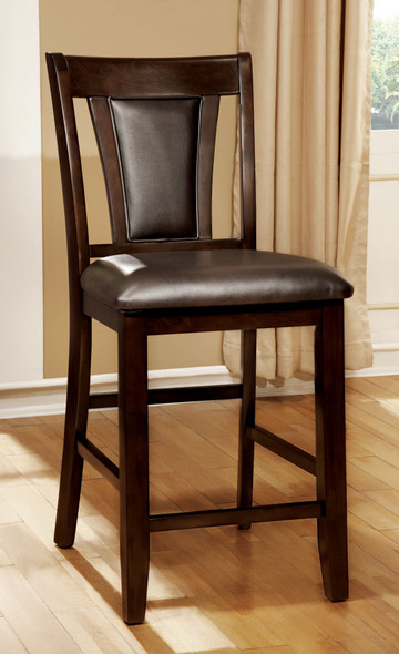 Dolen Transitional Padded Counter Height Chairs in Dark Cherry and Espresso (Set of 2)
