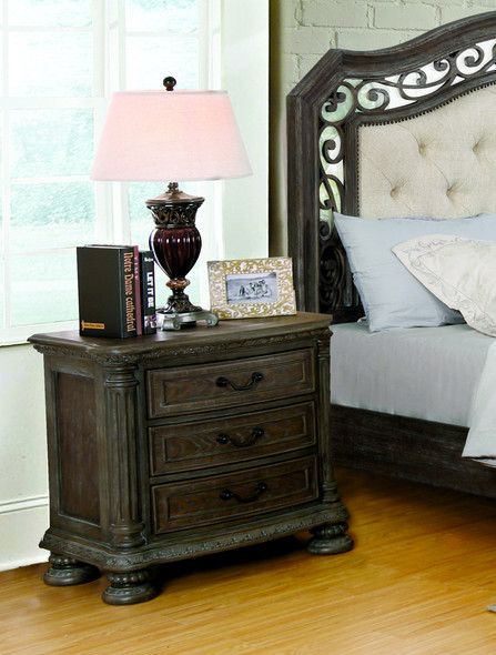 Arrant Transitional 3-Drawer Nightstand in Rustic Natural Tone