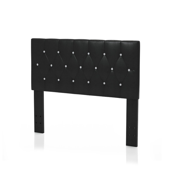Nazz Contemporary Faux Leather Twin Button Tufted Headboard in Black