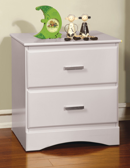 Stella Transitional 2-Drawer Nightstand in Coconut White