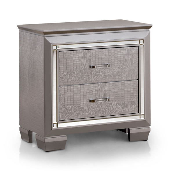 Balitoria Contemporary 2-Drawer Nightstand in Silver