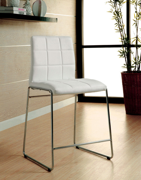 Lonne Contemporary Padded Counter Height Chairs in White (Set of 2)