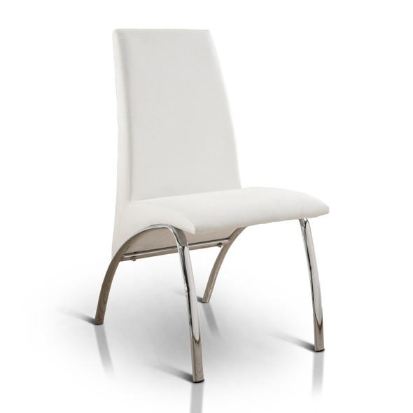 Bectel Contemporary Padded Side Chairs in White (Set of 2)