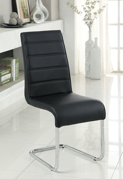 Rayna Contemporary Tufted Back Side Chairs in Black (Set of 2)