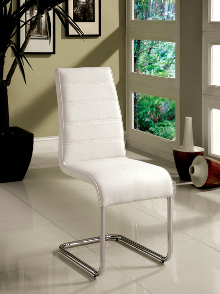 Rayna Contemporary Tufted Back Side Chairs in White (Set of 2)