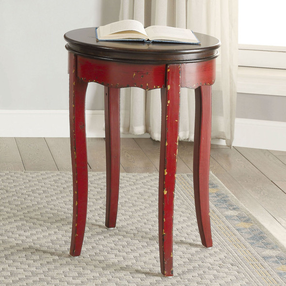 Howie Vintage Round End Table in Red