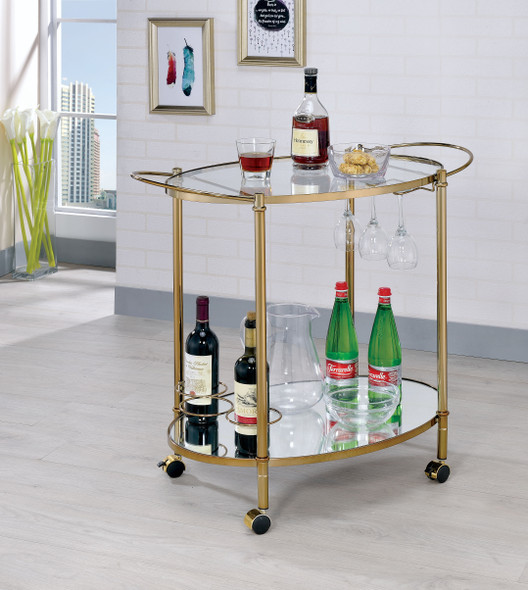 Gamora Contemporary 2-Shelf Serving Cart in Champagne