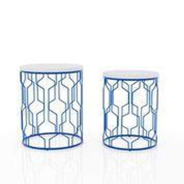 Vereira 2-Piece Nesting Tables in Blue Coating