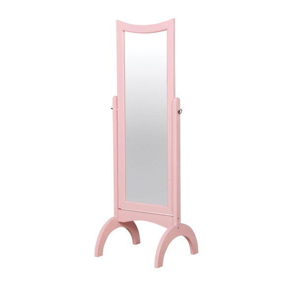 Elfred Contemporary Wood Standing Mirror in Pink