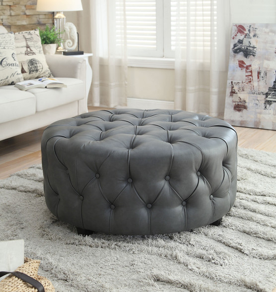 Sarafina Contemporary Faux Leather Tufted Ottoman in Gray