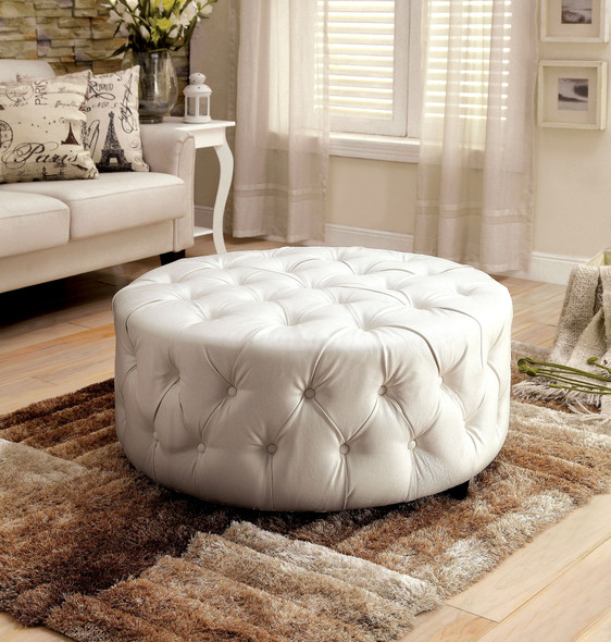 Sarafina Contemporary Faux Leather Tufted Ottoman in White
