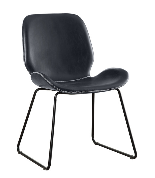 Etinne Contemporary Curved Accent Chair in Black
