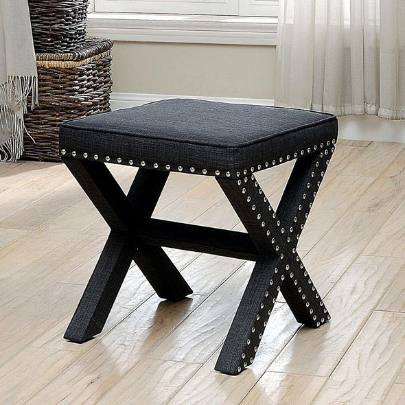 Penny Contemporary Upholstered Ottoman in Dark Gray