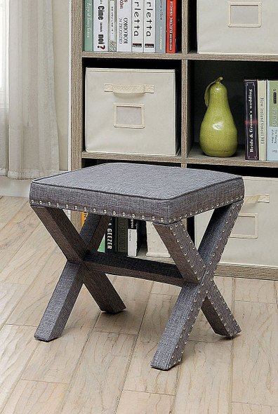 Penny Contemporary Upholstered Ottoman in Light Gray