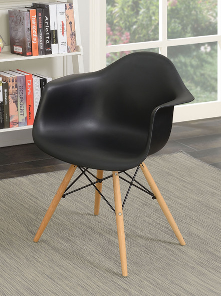 Kylie Mid-Century Modern Splayed Leg Accent Chairs in Black (Set of 2)