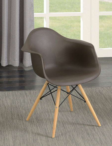 Kylie Mid-Century Modern Curved Accent Chairs in Brown (Set of 2)
