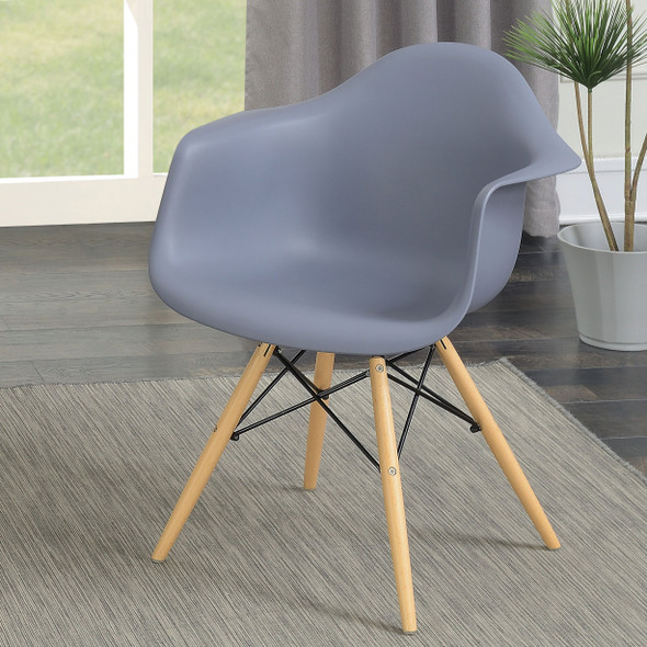 Kylie Mid-Century Modern Curved Accent Chairs in Gray (Set of 2)