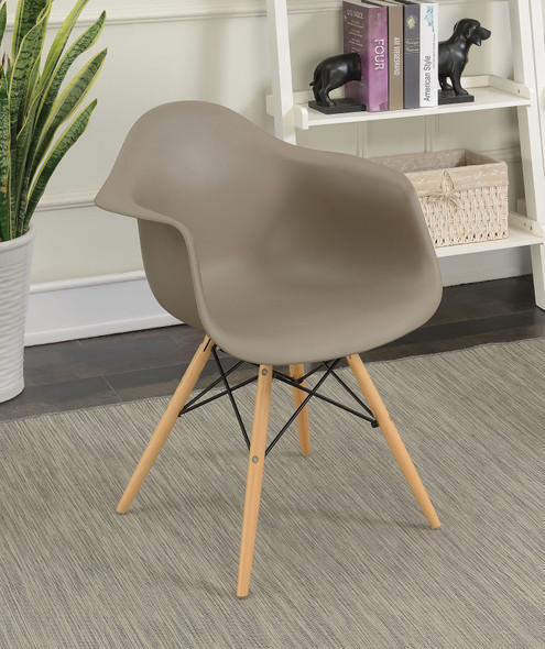 Kylie Mid-Century Modern Splayed Leg Accent Chairs in Light Brown (Set of 2)