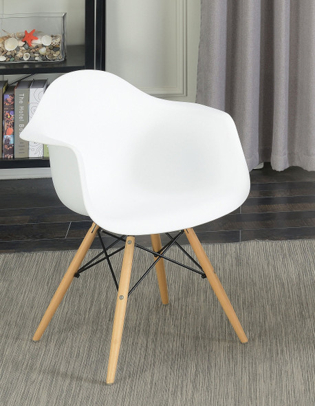 Kylie Mid-Century Modern Splayed Leg Accent Chairs in White (Set of 2)