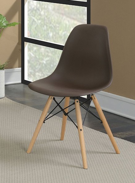 Gerald Mid-Century Modern Curved Accent Chairs in Brown (Set of 2)