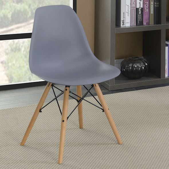 Gerald Mid-Century Modern Curved Accent Chairs in Gray (Set of 2)