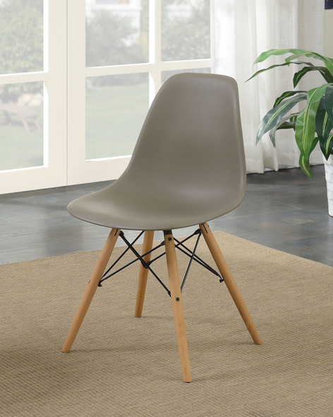 Gerald Mid-Century Modern Splayed Leg Accent Chairs in Light Brown (Set of 2)