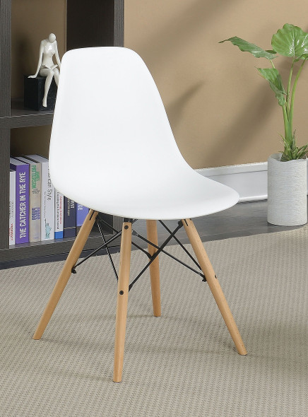 Gerald Mid-Century Modern Curved Accent Chairs in White (Set of 2)