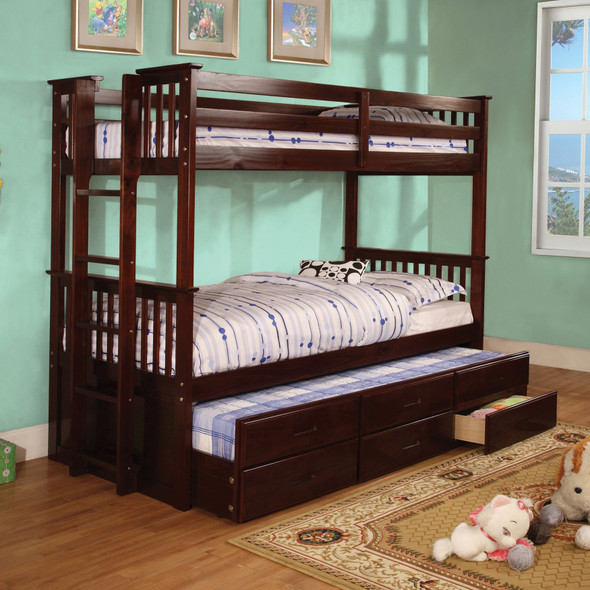 Andris Cottage Solid Wood Twin over Twin Bunk Bed in Dark Walnut