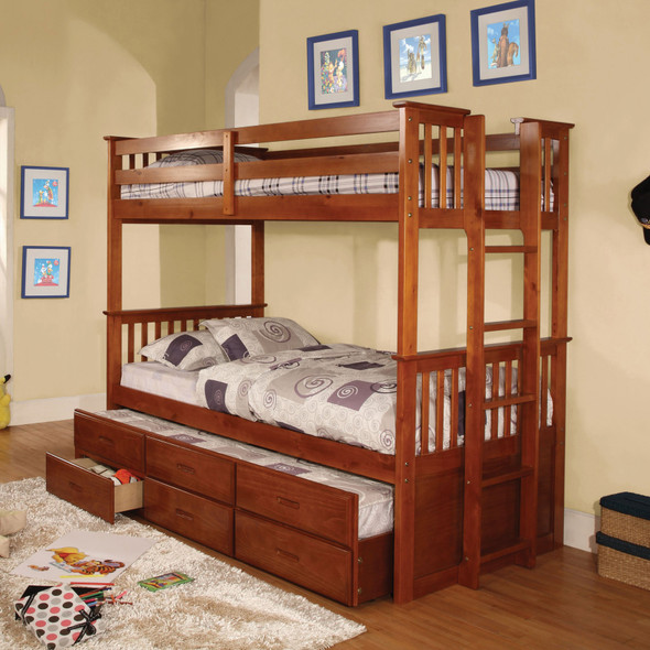 Andris Cottage Solid Wood Twin over Twin Bunk Bed in Oak